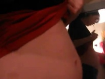 Aliass Greene Face Regular Time Belly in tight red shirt-1.08
